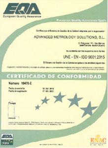 certificado une-en-iso 9001:2015 ams
