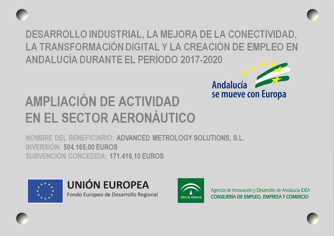 placa adquision fondo europeo por el desarrollo industrial, la mejora de la conectividad y la transformacion digital 2020